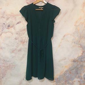 H&M Hunter Green Dress with Tie Waist